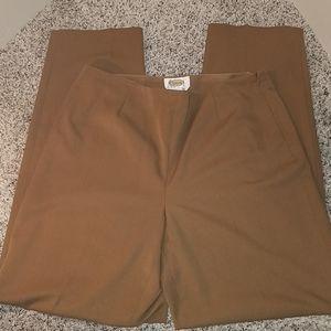 Talbots Stretch Side-Zip Pants, 10, Brown